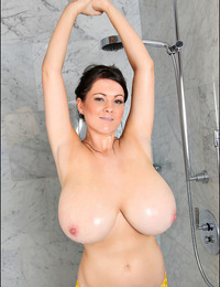Rachel steps out of a steamy shower